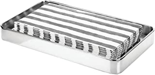 mDesign Modern Decorative Metal Guest Hand Towel Storage Tray Dispenser, Sturdy Holder for Disposable Paper Napkins - Bathroom Vanity Countertop Organization - Chrome