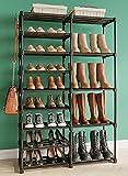 "Tabiger 9 Tire Shoe Rack Organizer for 28-30 Pairs, DIY Stackable Shoe Shelf for Entryway, Sturdy Metal Shoe Storage with Hanging Hook, Space Saving Shoe Organizer Closet, 55.5""x34.5""x12"", Black"
