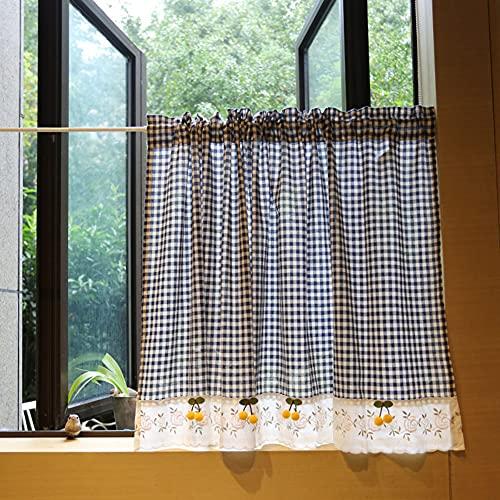 YXW Mantovane per Tende Finestra Piccola a Quadretti, Tende Corte, Mezza Tenda da Cucina per Soggiorno/Bagno/sottolavello, Blu/Bianco, 140 × 80 cm