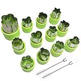 Juego de 12 moldes para cortar verduras de frutas y galletas para la sal de niños, AFUNTA con diseño sellos para cortar alimentos decorativos para niños pequeños, con 2 cepillos de limpieza