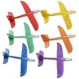 BESPORTBLE 6Pcs Juguetes de Avión de Espuma Lanzando Avión Planeador Volador Modelo Manual Avión Volador Regalo con Luz Led para Deportes Al Aire Libre Jardín Patio Jugando