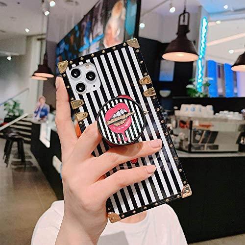 KESHOUJI Fashion Lips Banana Leaf Ink Marble Luxury Square Metal Silicona Funda Blanda para iPhone 12Mini 11Pro MAX XS XR 7 8plus Funda para teléfono, 4 con Soporte, para iPhone XR