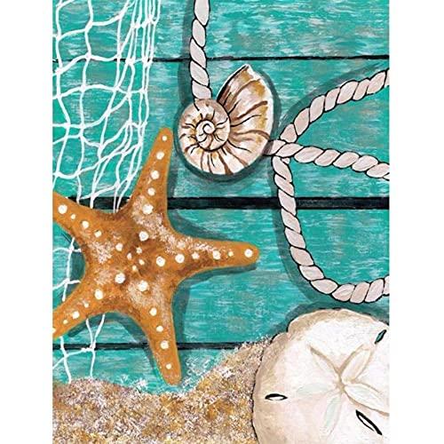 Sugamm 5D Diamond Painting Estrella De Mar Kit Completo, Bricolaje Punto De Cruz Diamante Pintura Kit Decoración De La Pared De La Oficina Del Dormitorio De Las Manualidades 50x65cm 0446