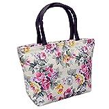 Bangle009 Damen Handtasche mit Rosenmotiv, Leinen, große Kapazität, Einkaufstasche, Schultertasche, Weiß