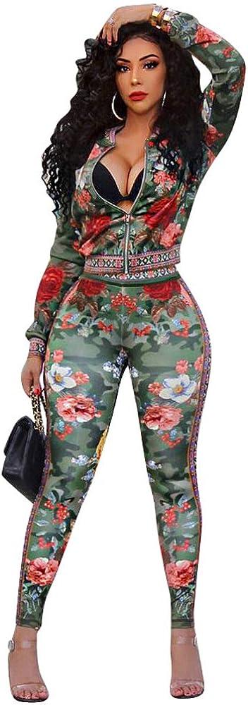 Womens 2 Piece Tracksuit Outfit Set Long Sleeve Zipper Cardigan Tops Pants Suit