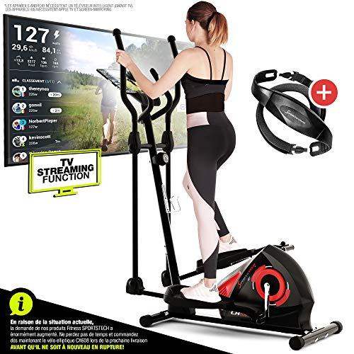 Sportstech CX608 Vélo Elliptique Appartement Fitness Ergomètre Cardio intérieur Compatible avec...
