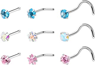 VIEEL 9 Pcs Nose Rings Studs Surgical Steel Nose Nostril Inlaid Piercing Jewelry for Women Men Girl