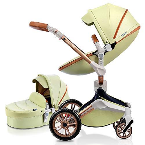 Hot Mom Silla de paseo Reversibilidad rotación multifuncional de 360 grados con buggy asiento y capazo 2020 Nueva actualización (amarillo) F023