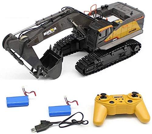 MODELTRONIC Excavadora RC HUINA 1592 en 2.4G Escala 1:14 RTR 22 Canales con 2 baterías / Completa y Movimiento proporcional / vehículo construcción