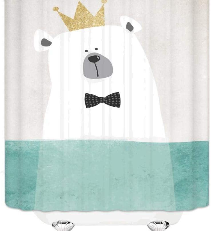 New products world's highest quality popular Cartoon Crown Bear Shower Curtain Screen Curt Bathroom Sale item Kids Bath