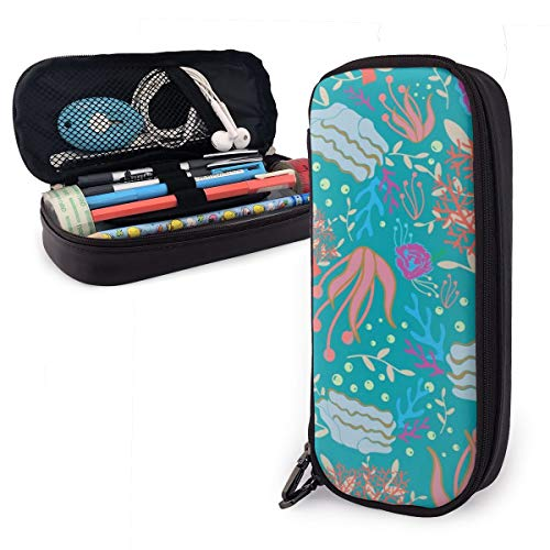 OUYouDeFangA - Bolsa de almacenamiento de piel sintética para plantas marinas, portátil, para estudiantes, lápices, oficina, papelería, bolsa, carteras con cremallera, bolsa multifunción para maquillaje