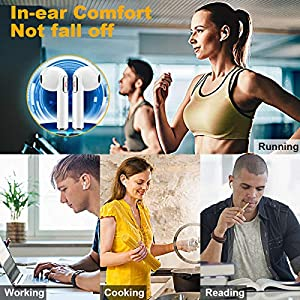 Wireless Earbuds with Charging Case,Bluetooth Earbuds with Mic for Running,Wireless Earphones Bluetooth Earphones with Microphone,Mini Sports Earbuds Sweatproof Compatible iOS Android Smartphone