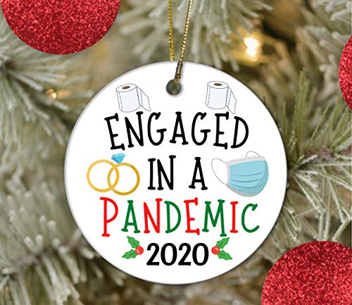 Lplpol 3 Inch Engaged Ornament 2020 Engaged In A Pandemic Christmas Ornament Covid For Couple Christmas Tree Holiday Ornament