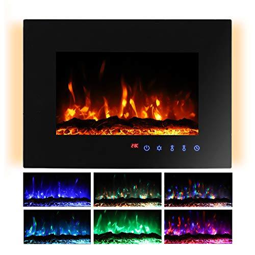 Sekey Home Elektrokamin | Deko-Kamin | Wandkamin mit Heizlüfter | Thermostat | Wochentimer | LED-Beleuchtung | 3D Flammeneffekte | 7 Flammenfarben | Fernbedienung, Geräuscharm,Wandmontage, Schwarz
