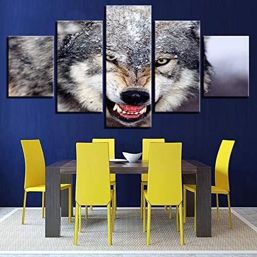 GHTAWXJ Decoración del hogar Imágenes Modernas HD Lienzo Sala de Estar Pintura 5 Panel Snow Wolf Wall Art Impreso Poster