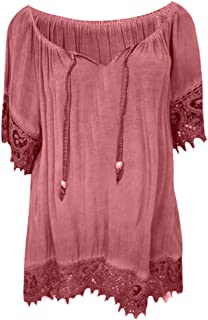 Eaktool T Shirts for Women,Women O-Neck Solid Lace Patchwork Short Sleeve Blouse Shirt Tops