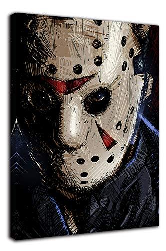 Stampe su tela di Ariago Friday the 13th - Stampa artistica su tela, 45,7 x 61 cm, motivo horror Art Movies hockey maschera Jason per bagno, allungata e pronta da appendere