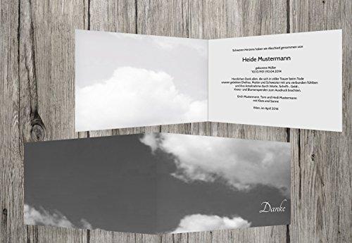 trauerkarten-druck   Danksagung Trauerfall   Danksagung Trauer Wolken   30 Karten   mit Individualisierung & Umschlägen   in hellesGrau