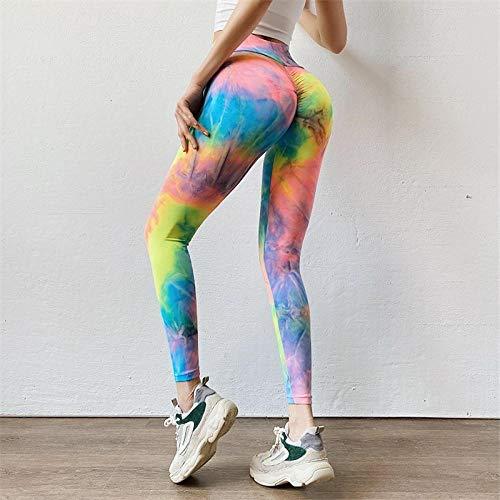 Nouvellement Mode Femmes Taille Haute sans Couture Gym Legging Fitness Pantalon Arc-en-Ciel Tie-Dye Scrunch Leggins Push Up Entraînement Legging M Arc-en-Ciel