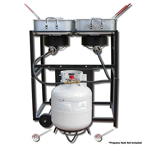 King Kooker KKDFF30T 30-Inch Dual-Burner Outdoor Propane Frying Cart