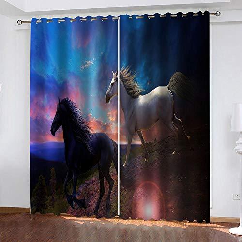 PKUOUFG Caballo Animal Blanco y Negro 3DCortinas Opacas W200xH200cmNiños habitación niño niña decoración de Interiores Cortinas
