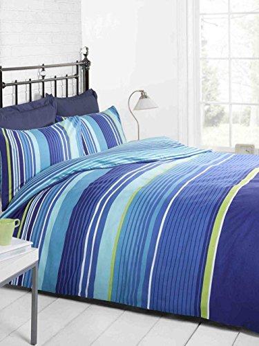 Juego de Ropa de Cama - Funda de Edredón King Size con Diseño de Rayas Azul Marino, Azul Claro, Verdes y Blancas