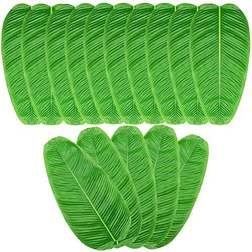 Noverlife 15 hojas artificiales de plátano, hojas tropicales de imitación para jungla, playa, isla hawaiana, aventura, fiesta temática, hogar, cocina, decoración, camino de mesa, mantel individual