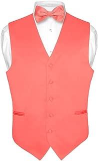 Men's Dress Vest & Bowtie Solid Coral Pink Color Bow Tie Set for Suit or Tuxedo