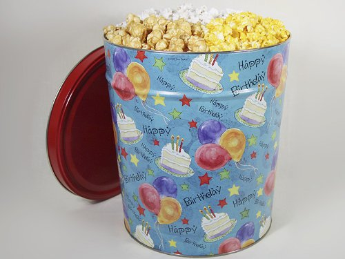 For Sale! Happy Birthday Gourmet Popcorn Tin, Double Cheddar Cheese