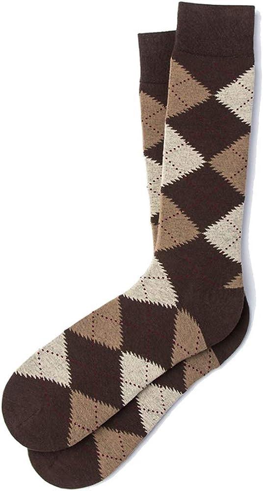 Mens Hipster Designer Argyle Design Luxury Crew Dress Socks