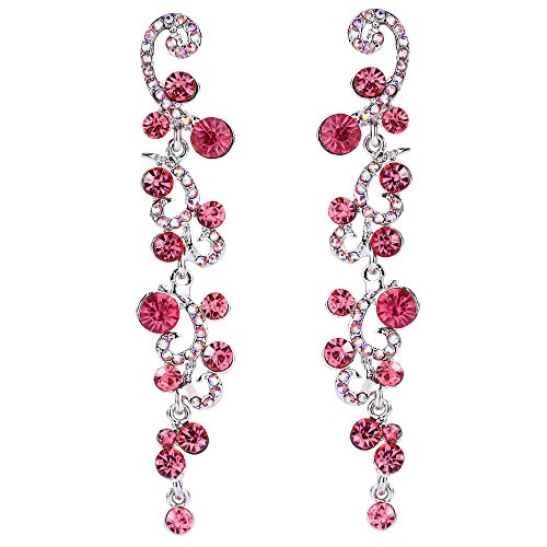 EVER FAITH Rhinestone Crystal Bridal Prom Cluster Flower Wave Chandelier Dangle Earrings Pink Silver-Tone