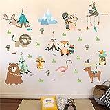 Cartoon Owl Lion Bear Fox Tribu India Animales Pegatinas de Pared Para Habitaciones de Niños Nursery Home Decor Pvc Tatuajes de Pared Diy Arte Mural