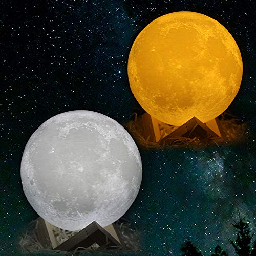 CPLA Lighting Night Light LED 3D Printing Moon Lamp, Warm...