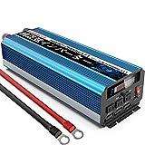 SUDOKEJI 正弦波インバーター 2000W 瞬間最大4000W インバーター DC→AC 変換器 50Hz/60Hz 車から家庭用電源 非常電源・補助電源に (ブルー, 12V 2000W(50Hz/60Hz 切り替え可能))