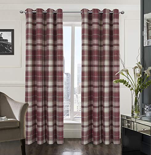 Alexandra Cole Plaid Check Curtains 84 Inch Length Farmhouse Curtains for Living Room Bedroom Grommet Window Curtains 2 Panels Red