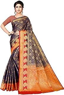 Neerav Exports Banarasi Silk With Weaving Zari Butta Jacquard Saree (Blue)
