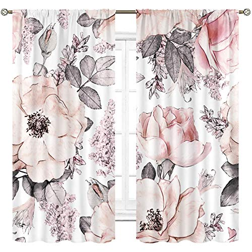 Cinbloo Pink Flowers and Leaves Curtains Rod Pocket Retro Gray Watercolor Blossom Rose Garden Plants Printed Living Room Bedroom Window Drapes 2 Panels 42 (W) x 63(L) Inch