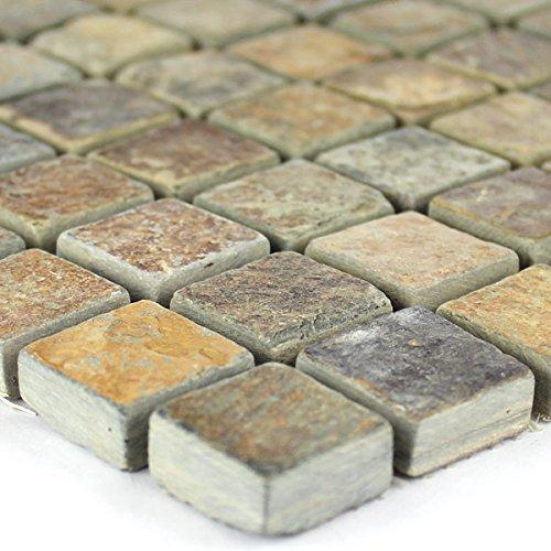 Quarzit Naturstein Mosaik Fliesen Multi Color Bunt Mix