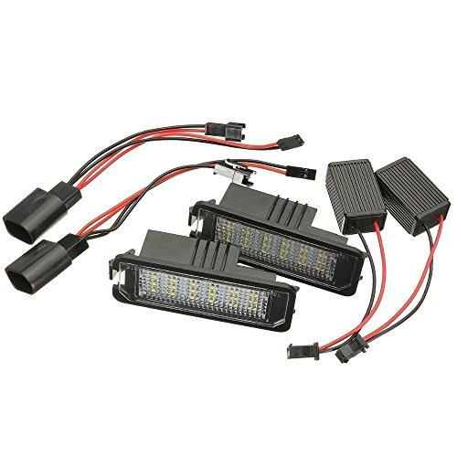 KaTur 1 Paire DC 12 V 18smd Erreur Gratuit LED Licence Lampe de Plaque d'immatriculation Lampe pour VW Golf Polo Passat Skoda