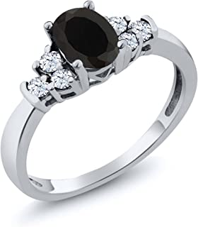 925 Sterling Silver Oval Black Onyx and White Topaz Women's Ring 0.63 cttw (Available 5,6,7,8,9)