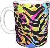 KEROTA Tazas de impresión de leopardo de color a rayas...