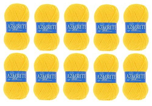 les colis noirs lcn Lot 10 Pelotes de Laine Azurite 100% Acrylique Tricot Crochet Tricoter - Jaune - 3006