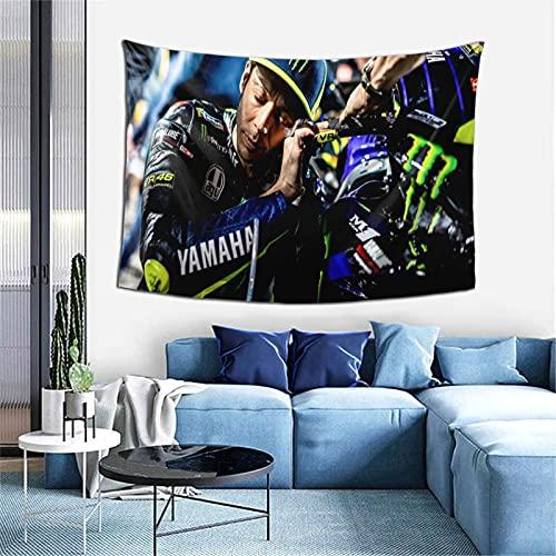 Valentino Rossi - Tapiz de pared, color blanco y negro para dormitorio, sala de estar, 101,6 x 152,4 cm