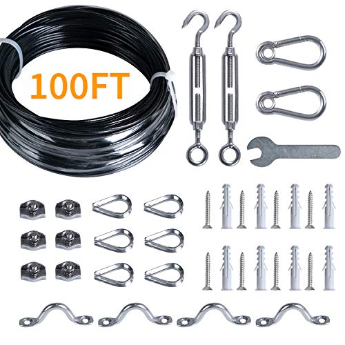 Brightown String Lights Hanging Kit for Outdoor, Includes 100Ft Stainless Steel(304) Suspension Rope Cable in Black Vinyl-Coated, Turnbuckle, Thimble, Hooks.Heavy Duty and Easy to Install