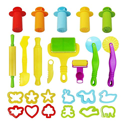 KAIMENG Knete Zubehör, Knetwerkzeug Teig, Kinder Knete Zubehör Spielzeug Plastilin Werkzeuge Set für Kinder, 25 Stück (zufällige Farbe)