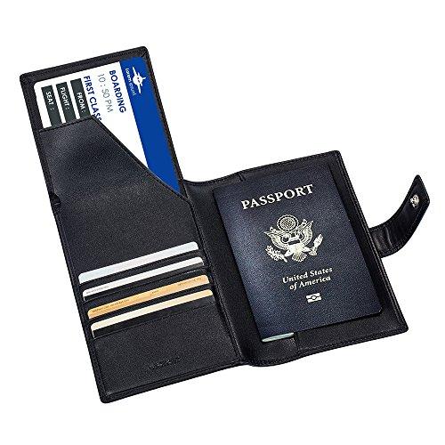 Porta Passaporto Custodia Passaporto Vera Pelle Portafogli da Viaggio Elegante e Anti RFID Documenti da Viaggio