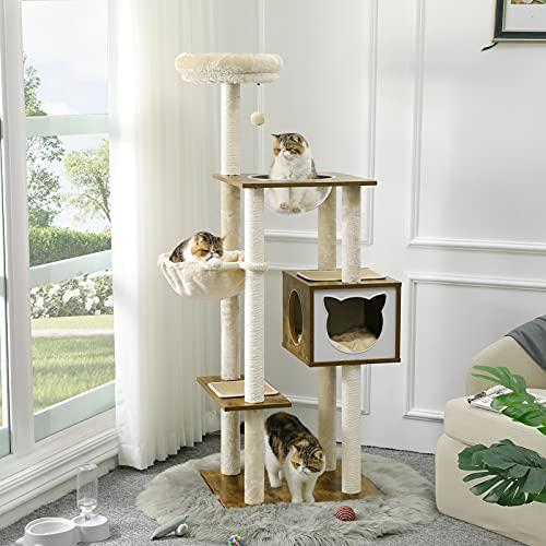 MSMASK Kratzbaum 160cm, Katzenbaum Mit Großer Korb, Mehrstöckig Katzenspielturm, Katzen Möbel Mit Transparentes Nest