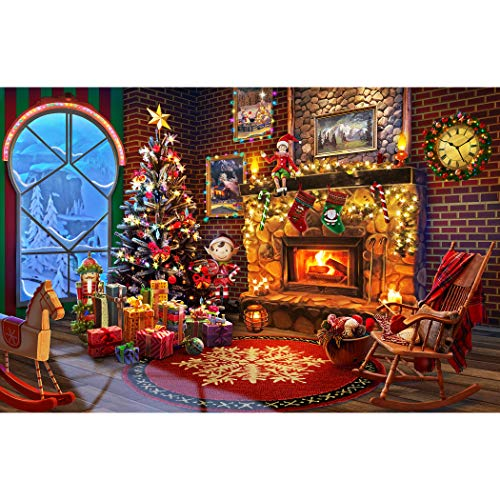 LAVIEVERT 1000 Piece Wooden Jigsaw Puzzles Christmas Puzzle Game - Fireplace,...