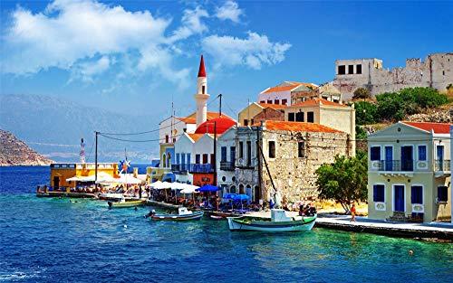 Puzzel Voor Volwassenen 1500 Stukjes, Griekenland Architectuur Gebouwen Huizen Eilanden Boten, Uniek Verjaardagscadeau