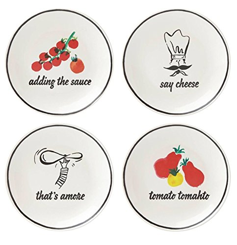 Kate Spade New York All In Good Taste Anyway You Slice It Pizza Plates, Set of 4
